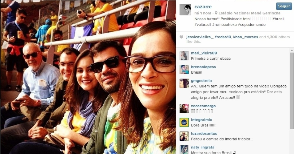 23.jun.2014 - O ator Juliano Cazarré também foi ao Mané Garrincha torcer pelo Brasil contra Camarões