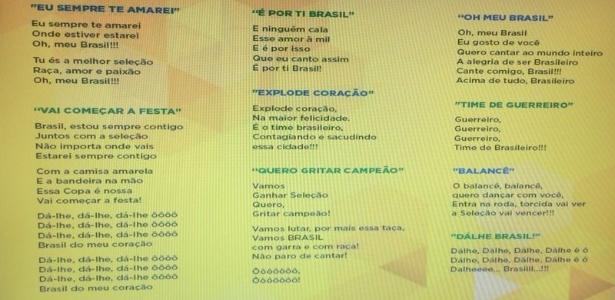 Ambev vai distribuir folheto com a letra de músicas famosas na porta dos estádios para incentivar a torcida brasileira
