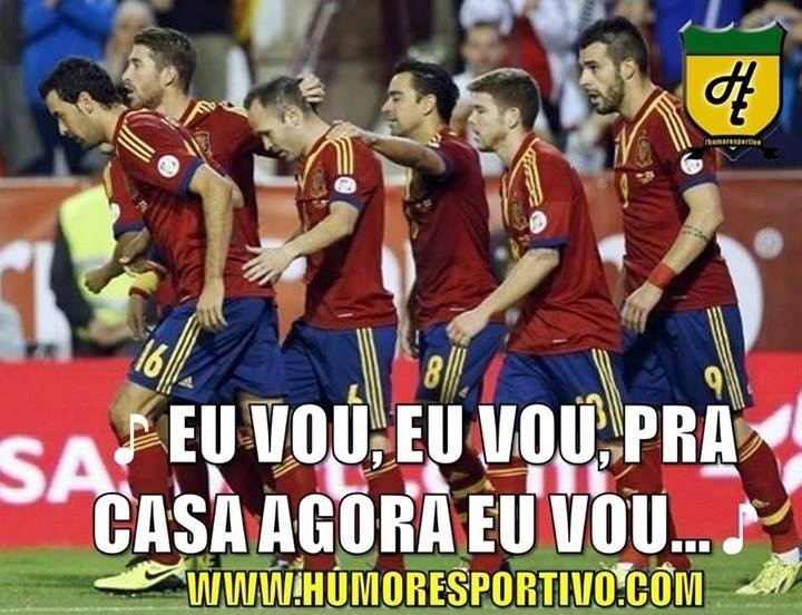 """Após vitória, jogadores da Espanha comemoram cantando """"Eu vou, eu vou, pra casa agora eu vou"""""""