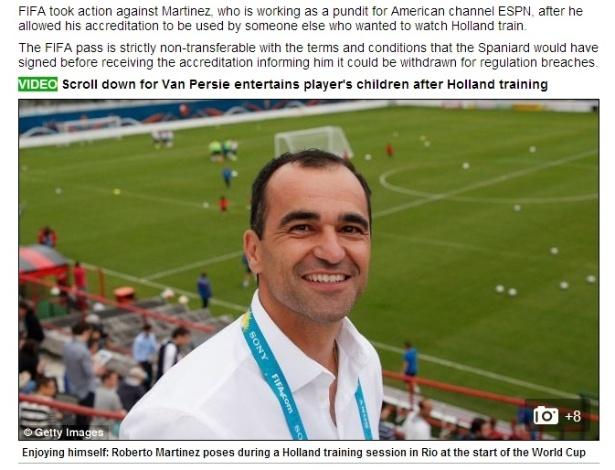Daily Mail destaca em sua edição online o caso da credencial do técnico espanhol Roberto Martínez