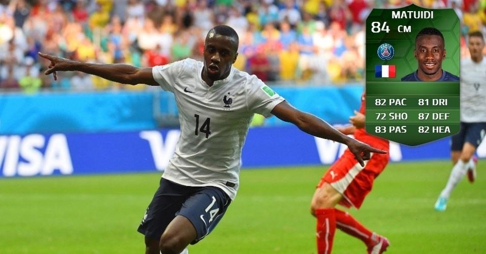 França 5 x 2 Suíça: Blaise Matuidi (80 para 84)