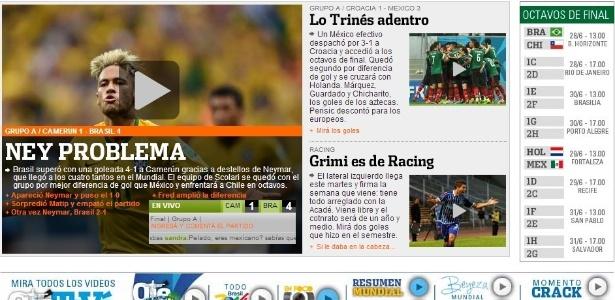 Neymar problema é capa do Olé, da Argentina, após a classificação brasileira