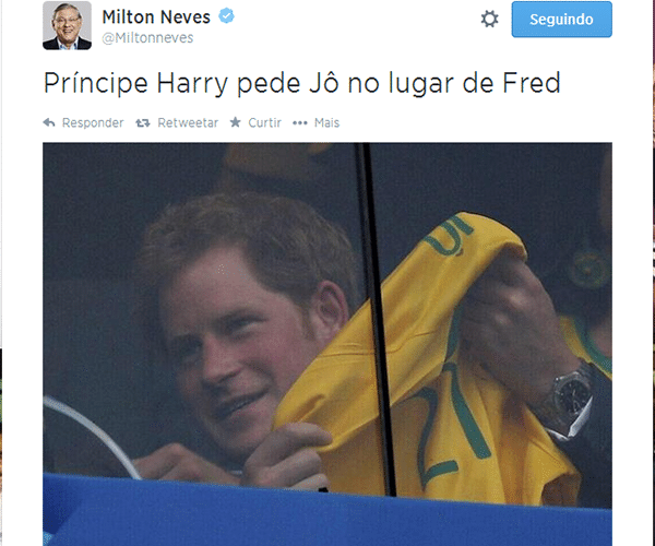 Príncipe Harry pede Jô no lugar de Fred?