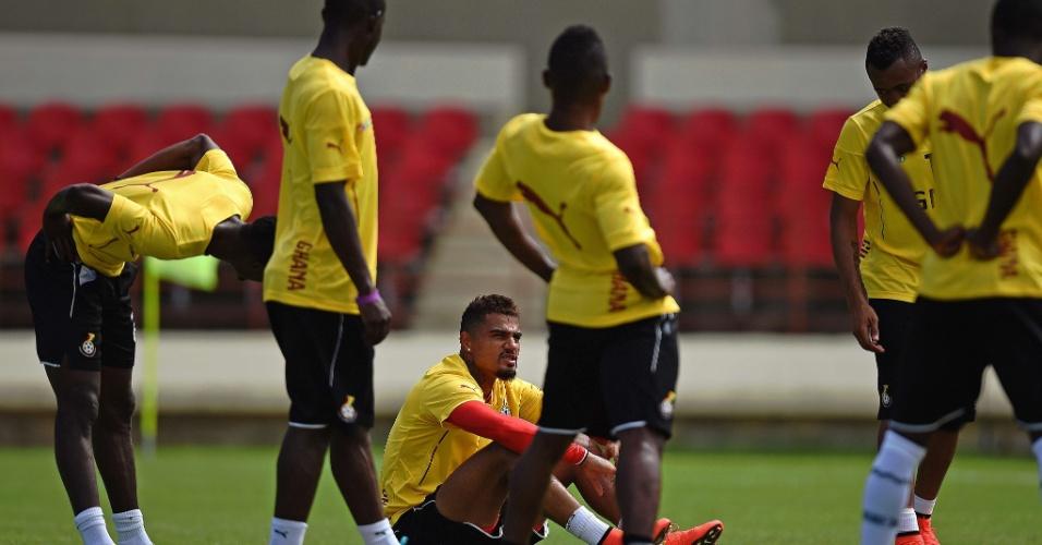 Seleção de Gana faz atividade no estádio Rei Pelé, em Maceió. A seleção africana decide o futuro na Copa contra Portugal, na quinta-feira