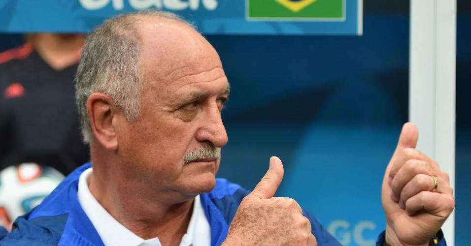 23.jun.2014 - Técnico Felipão gesticula antes da partida do Brasil contra Camarões, vencida pelos brasileiros por 4 a 1