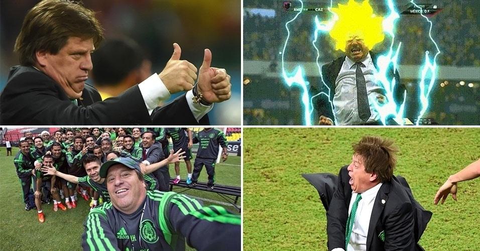 Com suas caras, bocas, selfies e comemorações exaltadas, o técnico mexicano Miguel Herrera  virou um dos mais carismáticos da Copa. E com vaga garantida nas oitavas de final. Conheça um pouco dele e veja suas imagens mais hilárias - as reais e as de humor