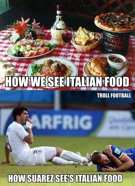 """""""Como nós vemos comida italiana. Como Suárez vê"""""""
