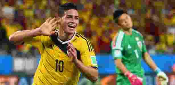 24.jun.2014 - James Rodriguez, da Colômbia, comemora após marcar o quarto gol na vitória sobre o Japão na Arena Pantanal - Christopher Lee/Getty Images - Christopher Lee/Getty Images