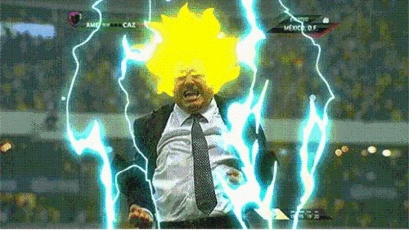 Miguel Herrera tem tanto carisma que virou meme. Esta imagem de uma comemoração antes da Copa gerou várias piadas, sendo a principal essa transformação em Super Saiyajin, personagem do desenho Dragon Ball.