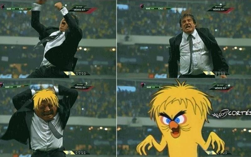 Miguel Herrera tem tanto carisma que virou meme. Esta imagem de uma comemoração antes da Copa gerou várias piadas, como esta, com a versão monstro do personagem Piu Piu