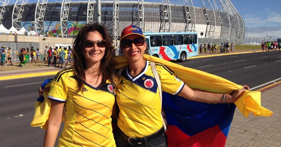 Torcedoras da Colômbia foram secar as rivais Grécia e Costa do Marfim no Castelão