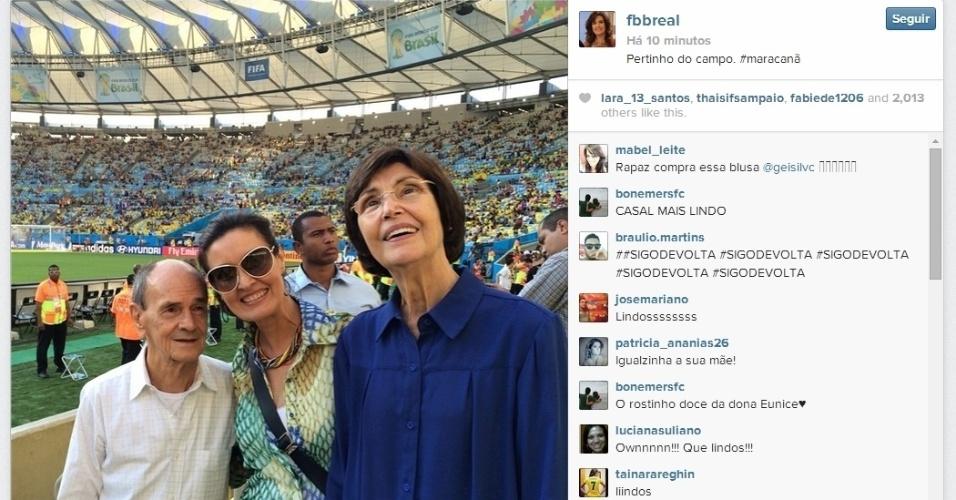 25.jun.2014 - Fátima Bernardes, no Maracanã, para França e Equador