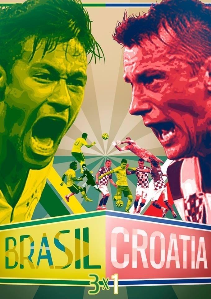 Alexandre Manzano, do estúdio de design Leão Branco, registrou a estreia do Brasil na Copa, a vitória por 3 a 1 sobre a Croácia