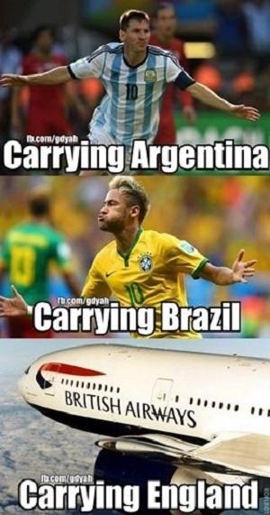 """""""Carregando a Argentina. Carregando o Brasil. Carregando a Inglaterra"""". Ingleses ainda estão sendo zoados"""