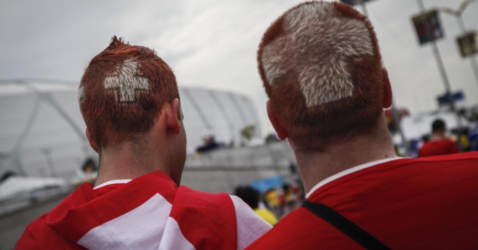 Esses levaram a Suíça na cabeça para o jogo contra Honduras na Arena Amazônia