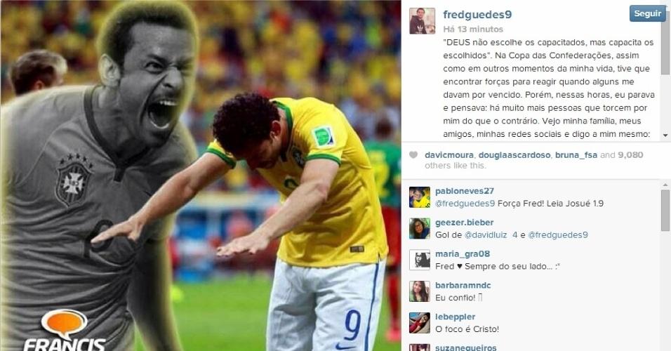Fred postou desabafo e agradecimento à torcida no Instagram
