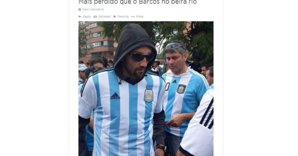 Hernán Barcos foi ao Beira-Rio disfarçado no meio da torcida da Argentina no jogo contra a Nigéria