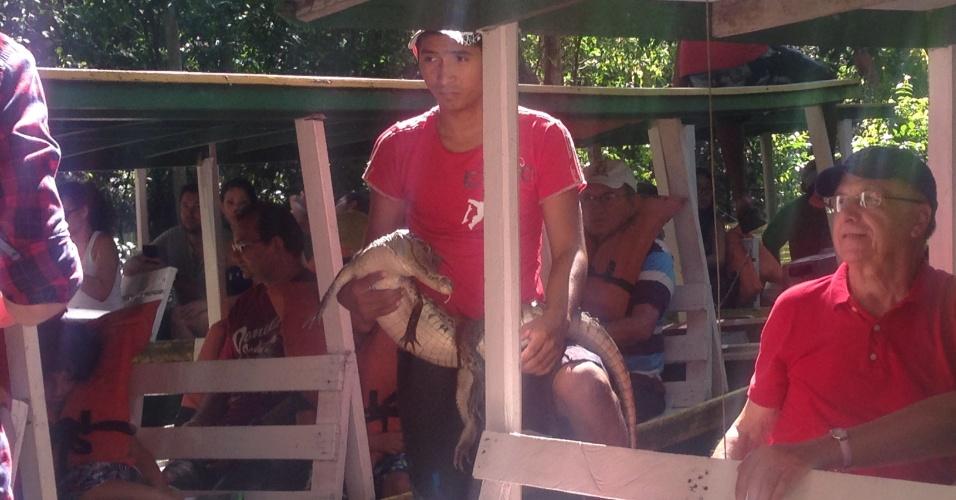 Jacaré com boca amarrada é exposto para turista em troca de dinheiro em Manaus