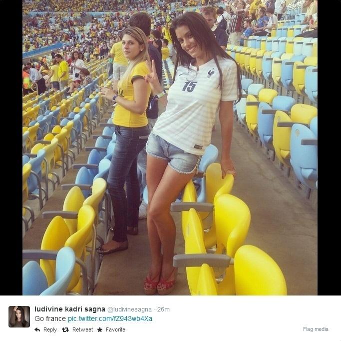 Ludivine Sagna, mulher do jogador francês Sagna, acompanha França e Equador no Maracanã