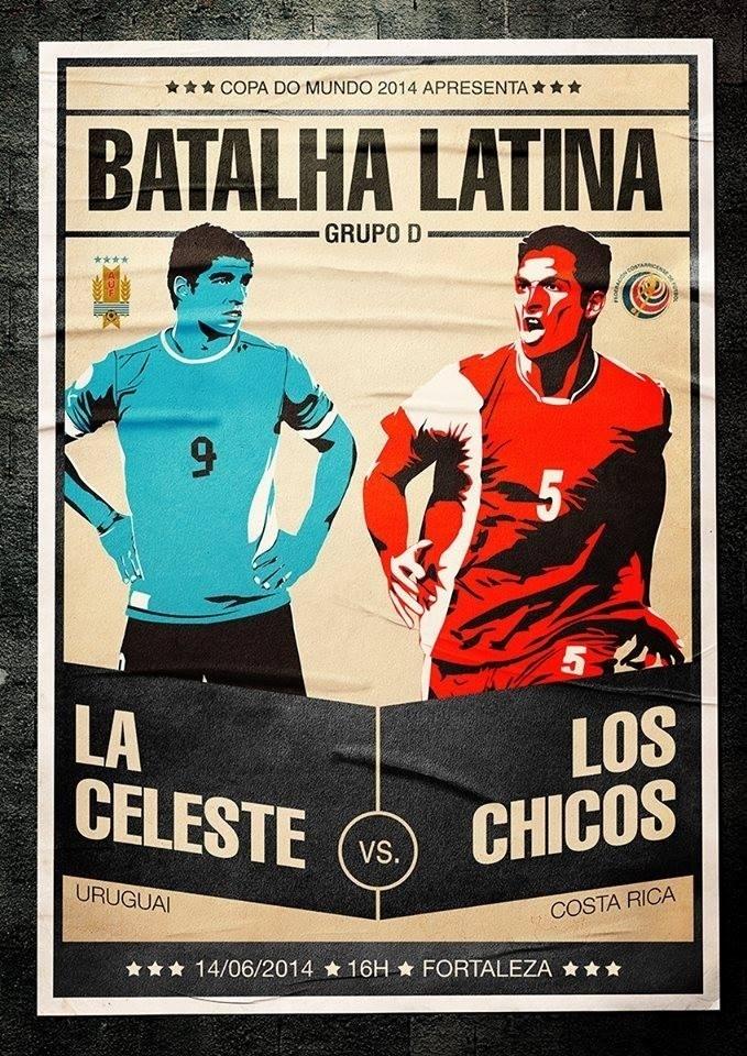 O designer Fabio de Castro fez referência à origem latina dos dois países em seu cartaz para Costa Rica 3 x 1 Uruguai