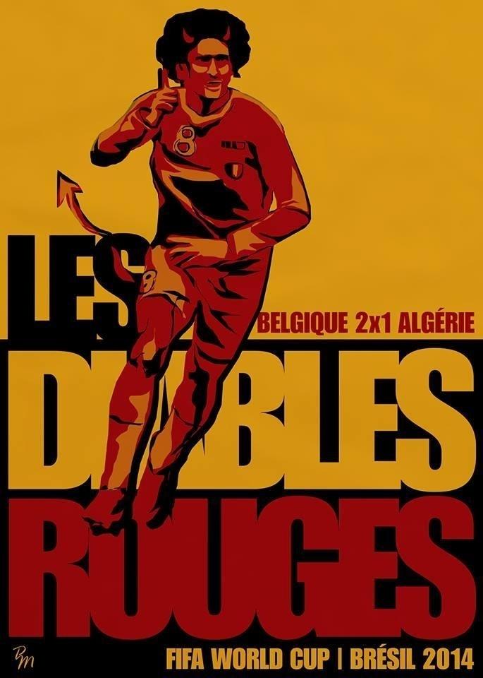 O designer gráfico e ilustrador Pedro Menezes se inspirou nos Diabos Vermelhos belgas para seu cartaz do jogo Bélgica 2 x 0 Argélia