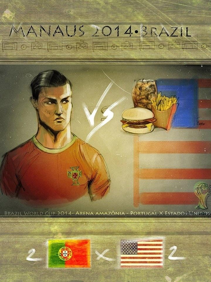 O designer Patrick Braga destacou a vaidade de Cristiano Ronaldo e os hábitos gastronômicos dos norte-americanos para  o cartaz de Portugal 2 x 2 EUA
