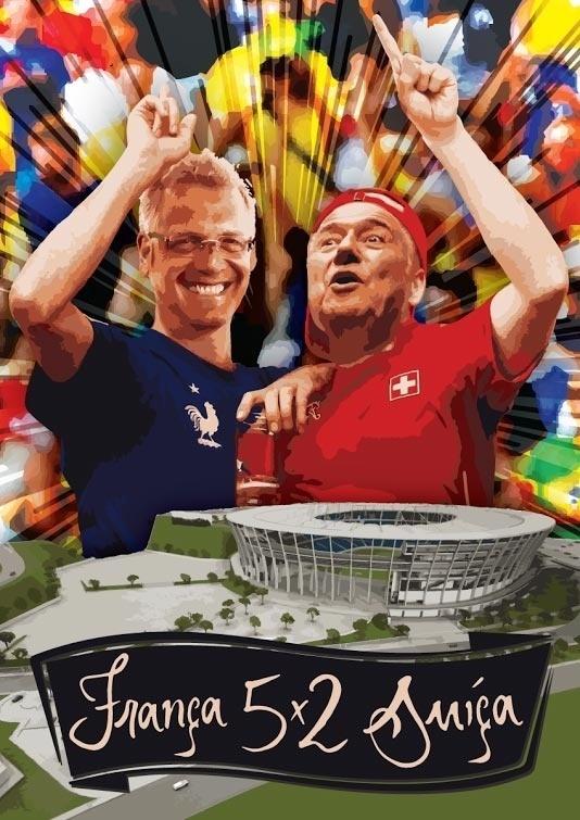 O diretor de arte Fernando Zarpelon, da FZarpa Comunicação Colaborativa, colocou o secretário-geral e o presidente da Fifa - Jérôme Valcke e Joseph Blatter - em seu cartaz de França 5 x 2 Suíça