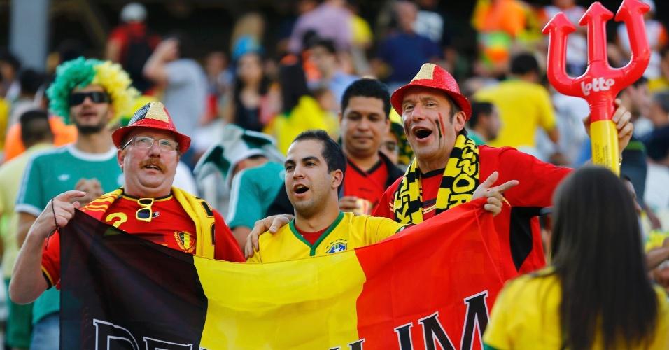 Brasileiro se juntou aos belgas no Itaquerão para assistir a partida entre Bélgica e Coreia do Sul
