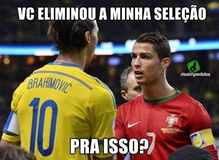 """Ibrahimovic se queixa com CR7: """"Tiraram a gente da Copa para isso?"""""""