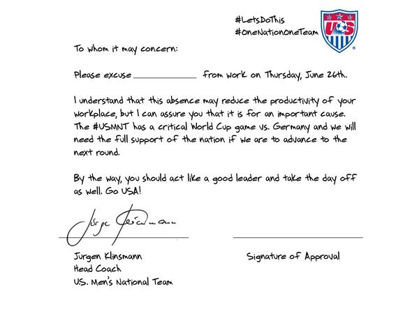 Twitter da Federação dos EUA de futebol enviou um atestado de falta para americanos, assinado por Klinsmann
