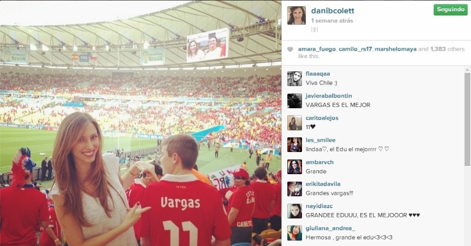 Daniela Colett foi ao Maracanã ver o gol de Vargas contra a Espanha