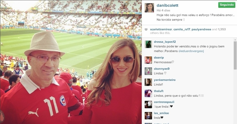 Daniela Colett marca presença no Itaquerão para duelo entre Chile e Holanda