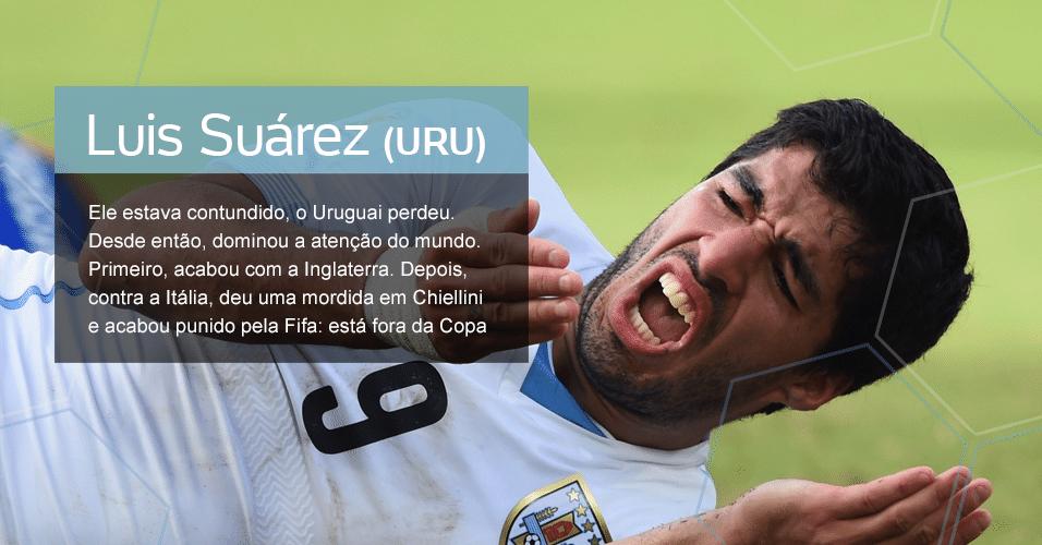 Grupo D - O Cara: Luis Suárez (URU) ? Ele estava contundido, o Uruguai perdeu. Desde então, dominou a atenção do mundo. Primeiro, acabou com a Inglaterra. Depois, contra a Itália, deu uma mordida em Chiellini e acabou punido pela Fifa: está fora da Copa