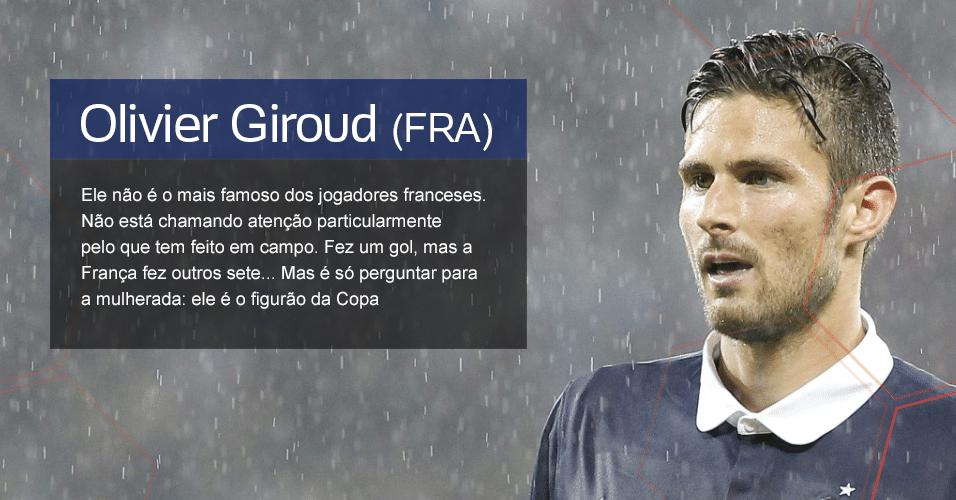 Grupo E - O figura: Olivier Giroud (FRA) ? Ele não é o mais famoso dos jogadores franceses. Não está chamando atenção particularmente pelo que tem feito em campo. Fez um gol, mas a frança fez outros sete... Mas é só perguntar para a mulherada: ele é o figurão da Copa