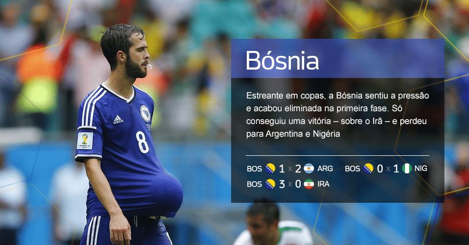 Grupo F - Bósnia ? Estreante em copas, a Bósnia sentiu a pressão e acabou eliminada na primeira fase. Só conseguiu uma vitória ? sobre o Irã ? e perdeu para Argentina e Nigéria (Resultados: BOS 1 X 2 ARG, BOS 0 X 1 NIG, BOS 3 X 1 IRA)