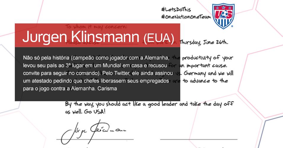 Grupo G - 10.   O figura: Jurgen Klinsmann (EUA) ? Não só pela história (campeão como jogador com a Alemanha, levou seu país ao 3º lugar em um Mundial em casa e recusou convite para seguir no comando). Pelo Twitter, ele ainda assinou um atestado pedindo que chefes liberassem seus empregados para o jogo contra a Alemanha. Carisma
