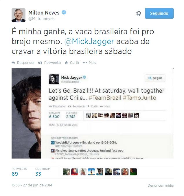 Mick Jagger anuncia torcida para o Brasil contra o Chile
