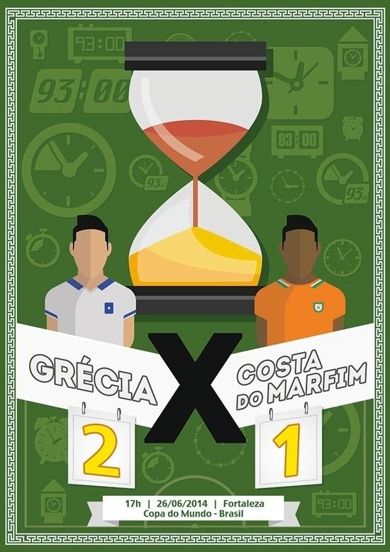Wagner Santos, diretor de arte da agência Wunderman, registrou o jogo Grécia 2 x 1 Costa do Marfim destacando que um dos gols foi marcado já nos acréscimos do segundo tempo