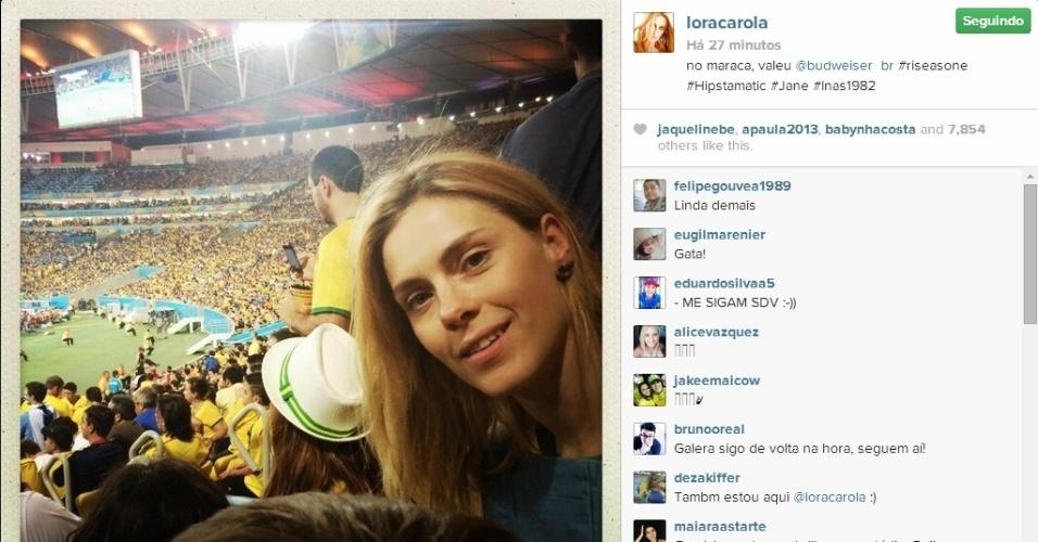 28.jun.2014 - Carolina Dieckmann foi ao Maracanã para assistir ao jogo entre Colômbia e Uruguai pelas oitavas de final da Copa