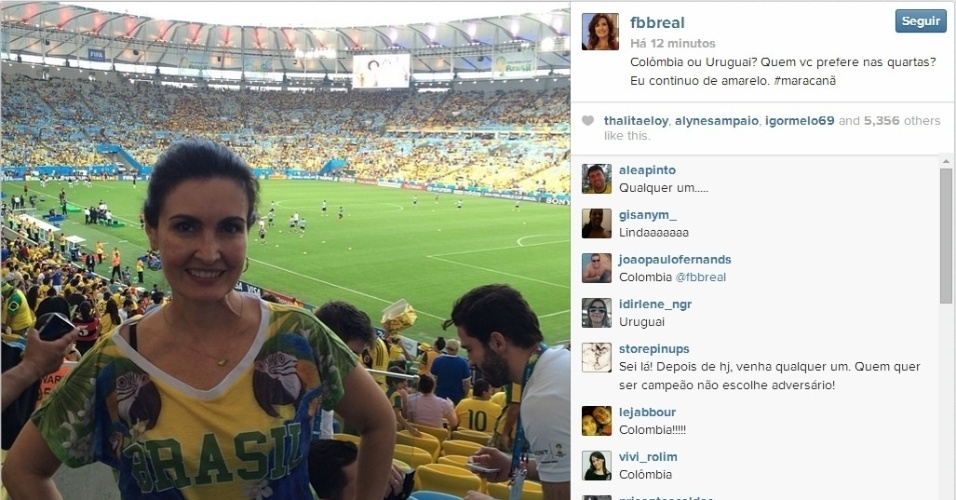 28.jun.2014 - Fátima Bernardes foi ano Maracanã para ver o jogo entre Colômbia e Uruguai pelas oitavas de final da Copa