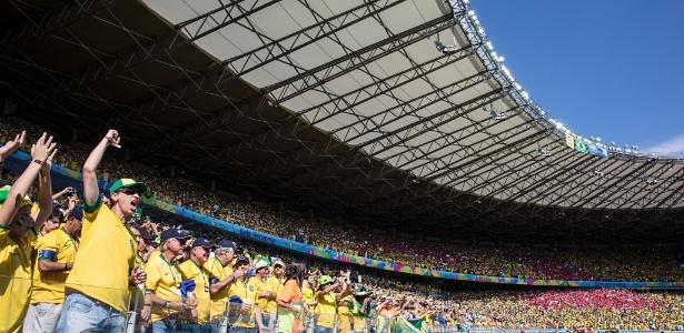 Torcida mineira durante a partida Brasil e Chile, na Copa 2014