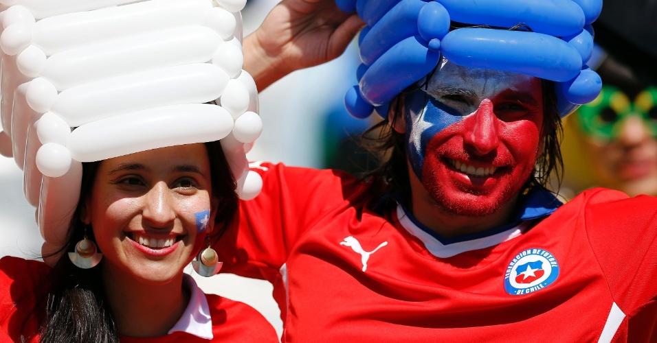 Casal chileno entra no clima do jogo contra o Brasil no Mineirão