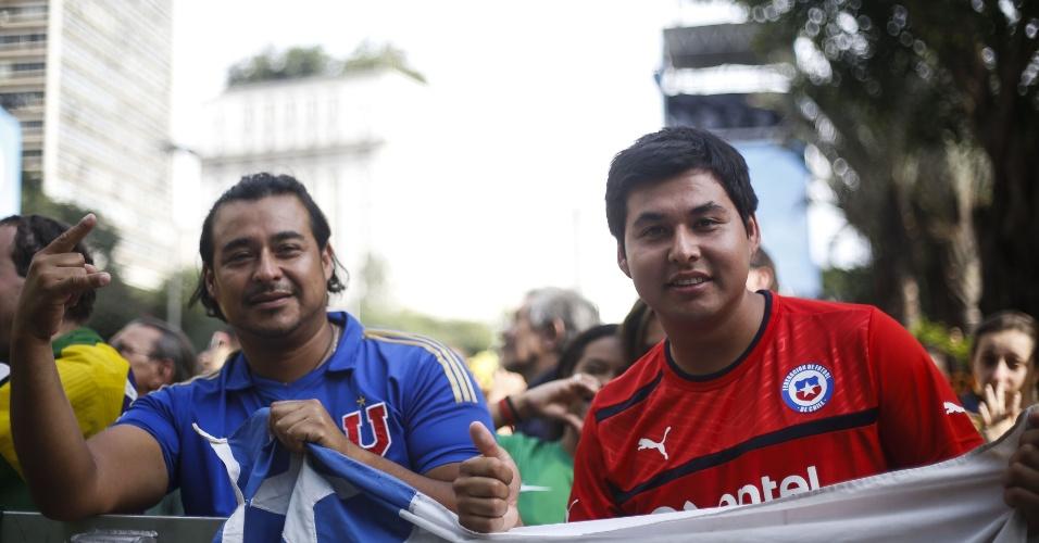 Chilenos não se intimidaram e acompanharam a partida contra o Brasil na Fan Fest de São Paulo