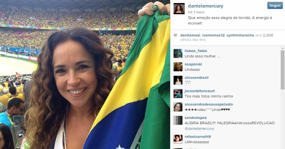 Daniela Mercury leva sua bandeira brasileira para acompanhar jogo entre Brasil x Chile no Mineirão