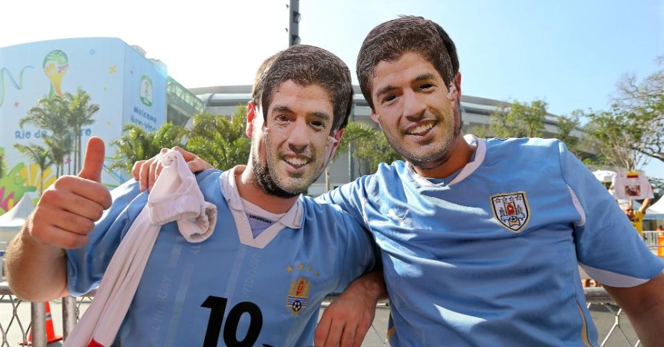 Dupla de Luisitos Suárez chega ao Maracanã para partida entre Colômbia e Uruguai, pelas oitavas da Copa do Mundo