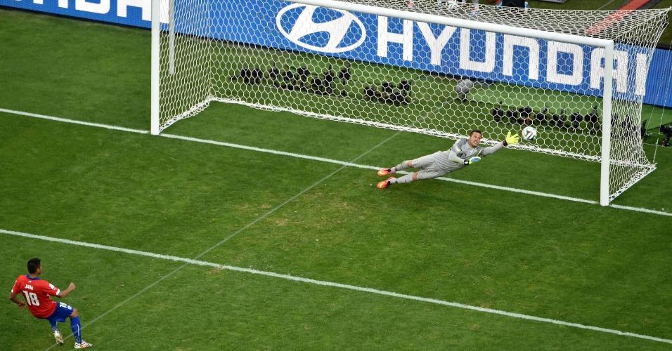 Julio Cesar se atira na bola batida por Gonzalo Jara, que bate na trave e dá a vitória para o Brasil sobre o Chile