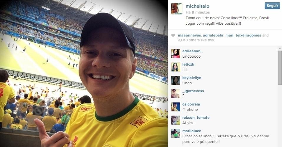 Michel Teló está no estádio do Mineirão para acompanhar jogo entre Brasil x Chile