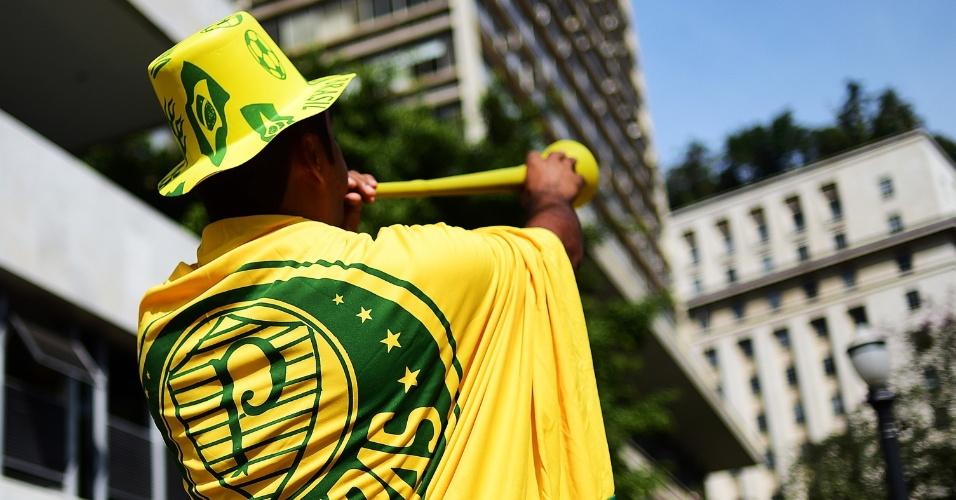 Torcedor não esquece o Palmeiras nem em dia de jogo do Brasil