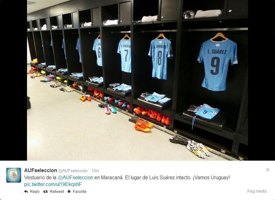 Uruguai mantém camisa de Suárez no vestiário mesmo após punição da Fifa