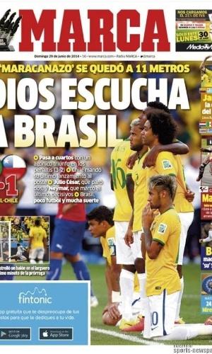 """""""Deus escuta o Brasil"""", definiu o diário espanhol Marca sobre a vitória brasileira sobre o Chile nos pênaltis"""